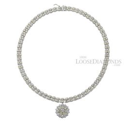 14k White Gold Vintage Style Two-Row Diamond Necklace & Pendant