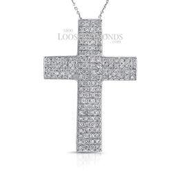 14k White Gold Modern Style Engraved Diamond Cross Pendant