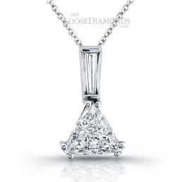 14k White Gold Art Deco Style Trilliant & Baguette Cut Diamond Pendant