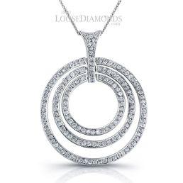 14k White Gold Modern Style Tri-Circle Diamond Pendant