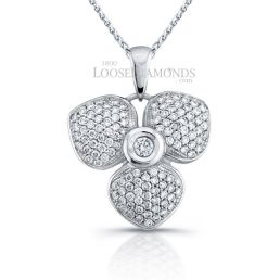 14k White Gold Classic Style Floral Diamond Pendant