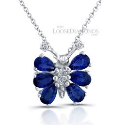 14k White Gold Classic Style Diamond & Sapphire Butterfly Pendant
