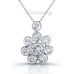 14k White Gold Classic Style Diamond Floral Pendant