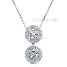 14k White Gold Vintage Style Engraved Double Halo Diamond Pendant