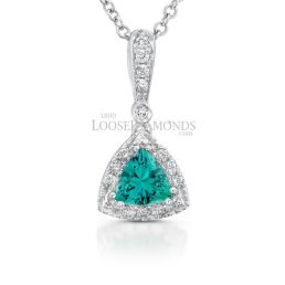 14k White Gold Vintage Style Diamond & Chatham Emerald Pendant