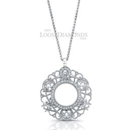 14k White Gold Vintage Style Diamond Pendant