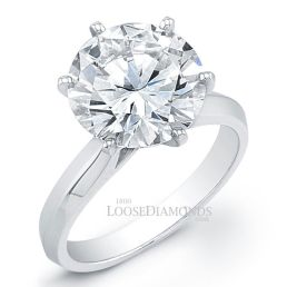 14k White Gold Classic Style Solitaire Engagement Ring