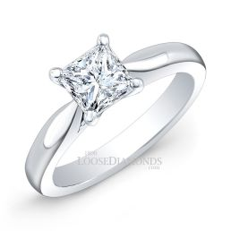 18k White Gold Modern Style Solitaire Engagement Ring