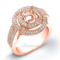 18k Rose Gold Vintage Style Diamond Halo Engagement Ring