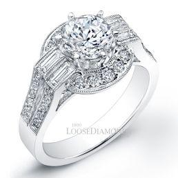 14k White Gold Vintage Art Deco Engraved Diamond Engagement Ring