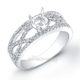 Platinum Modern Style Twisted Shank Diamond Engagement Ring