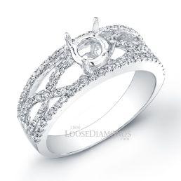 14k White Gold Modern Style Twisted Shank Diamond Engagement Ring