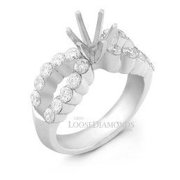 14k White Gold Modern Style Split Shank Diamond Engagement Ring