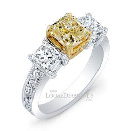 Platinum Vintage Style Engraved 3 Stone Diamond Engagement Ring