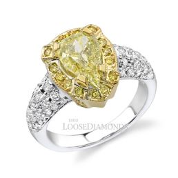 14k White Gold Modern Style Fancy Yellow Diamond Halo Engagement Ring