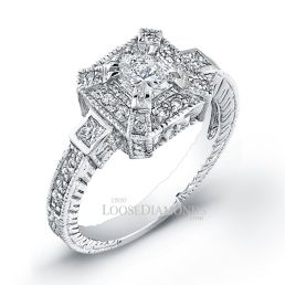 14k White Gold Art Deco Style Engraved Diamond Halo Engagement Ring