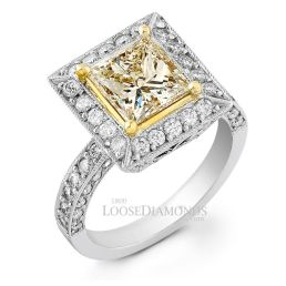 14k White Gold Classic Style Engraved 2-Tone Gold Diamond Halo Engagement Ring