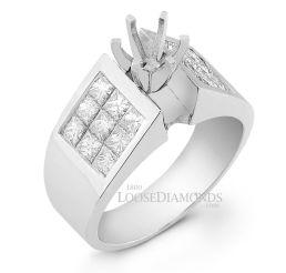 14k White Gold Modern Style Princess Cut Diamond Engagement Ring
