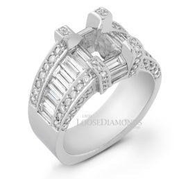 14k White Gold Art Deco Style Diamond Engagement Ring