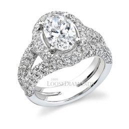 14k White Gold Classic Style Diamond Halo Engagement Ring