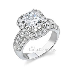14k White Gold Modern Style Engraved Diamond Halo Engagement Ring