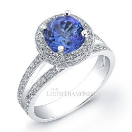 14k White Gold Modern Style Engraved Split Shank Diamond Halo Engagement Ring