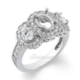 14k White Gold Vintage Style Engraved 3 Stone Oval Shape Diamond Halo Engagement Ring
