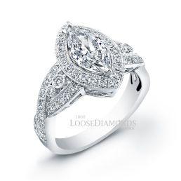 14k White Gold Vintage Style Engraved Marquise Shape Diamond Halo Engagement Ring