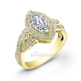 18k Yellow Gold Vintage Style Engraved Marquise Shape Diamond Halo Engagement Ring