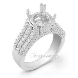 14k White Gold Modern Style Split Shank Engraved Diamond Engagement Ring