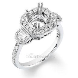 Platinum Vintage Cathedral Style 3-Stone Engraved Diamond Halo Engagement Ring