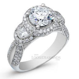 Platinum Vintage Style Engraved 3-Stone Half Moon Diamond Halo Engagement Ring