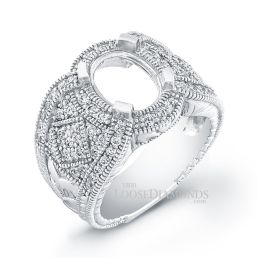 14k White Gold Vintage Style Engraved Diamond Engagement Ring