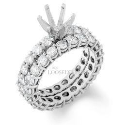 14k White Gold Classic Style Diamond Eternity Wedding Set