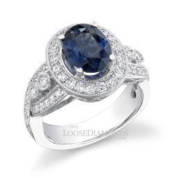 18k White Gold Vintage Style Engraved Diamond Halo Engagement Ring