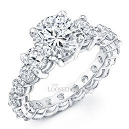 Platinum Classic Style 3-Stone Diamond Eternity Engagement Ring