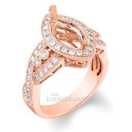 14k Rose Gold Vintage Style Engraved Diamond Halo Engagement Ring
