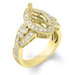 14k Yellow Gold Vintage Style Engraved Diamond Halo Engagement Ring