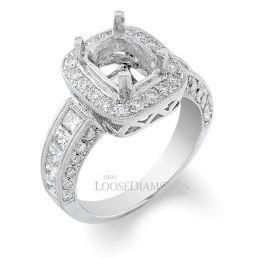 14k White Gold Art Deco Engraved Diamond Halo Engagement Ring