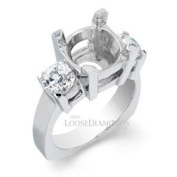 14k White Gold Art Deco Style 3-Stone Diamond Engagement Ring