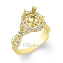 18k Yellow Gold Vintage Style Twisted Shank Engraved Diamond Halo Engagement Ring