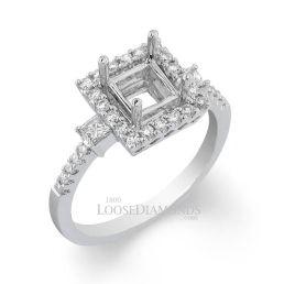 Platinum Modern Style 3-Stone Princess Cut Diamond Halo Engagement Ring