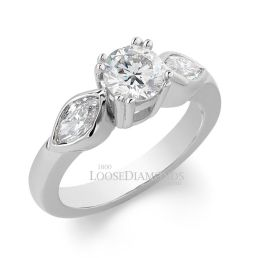 18k White Gold Classic Style Rose Gold & Marquise Diamond Engagement Ring