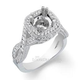 14k White Gold Vintage Style Twisted Shank Diamond Halo Engagement Ring