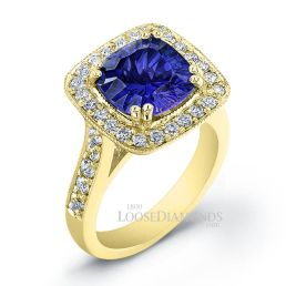 14k Yellow Gold Vintage Style Halo Diamond Engagement Ring