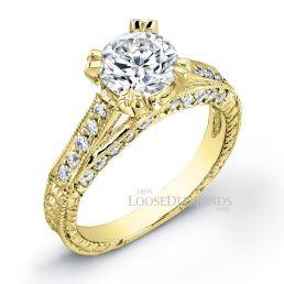 14k Yellow Gold Vintage Style Diamond Engagement Ring