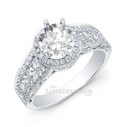 14k White Gold Modern Style Diamond Halo Engagement Ring