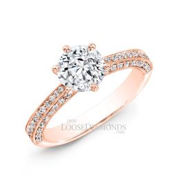 18k Rose Gold Classic Style Engraved Diamond Engagement Ring