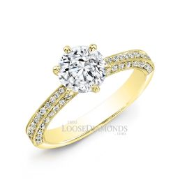 14k Yellow Gold Classic Style Engraved Diamond Engagement Ring