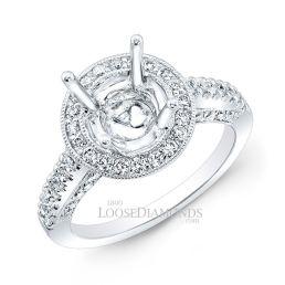 14k White Gold Modern Style Engraved Spilt Shank Diamond Halo Engagement Ring